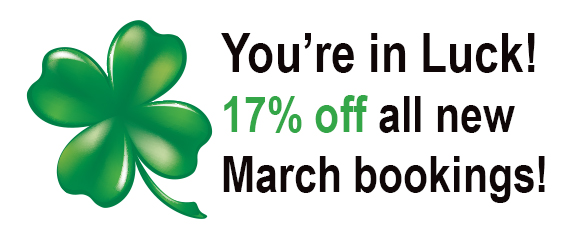 17% off all new March bookings