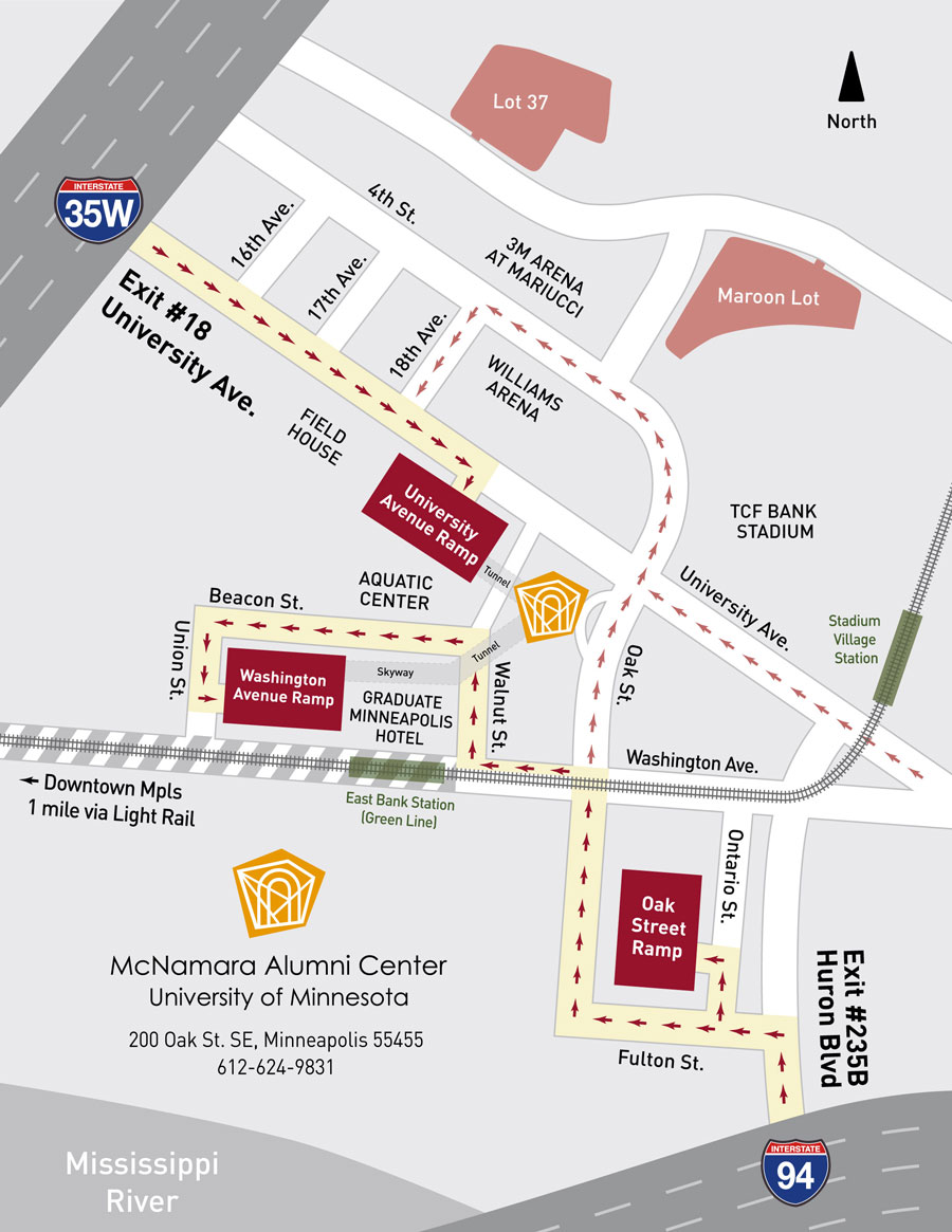 Directions to McNamara Alumni Center on