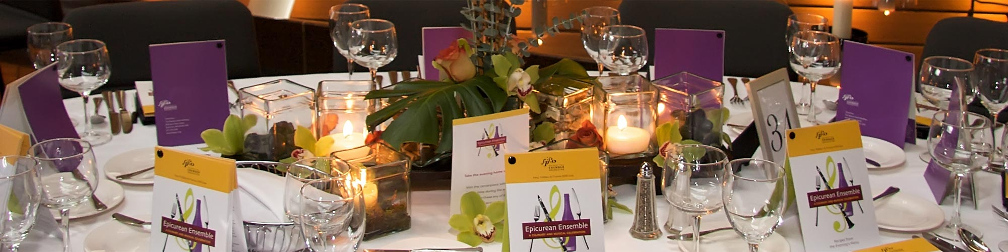 table setting for a party at McNamara Alumni Center